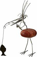 Therese die Anglerin Gartenfigur und Gartendeko als Steinvogel aus Edelstahl und Stein ca 40 cm hoch