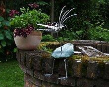 Therese sitzend Gartenfigur und Gartendeko als Steinvogel aus Edelstahl und Stein ca 35 cm hoch