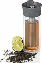 Thermo Becher THERMO TEA, grau, Füllmenge ca. 300 ml, für Teezubereitung, Glas/Edelstahl/Kunststoff/Silikon, D: 7 cm, H: 19,5 cm