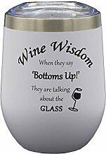 Thermo-Weinglas aus Edelstahl, mit Deckel,