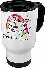 Thermobecher weiß mit Namen Glücksbärchi -