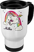 Thermobecher weiß mit Namen Milka - Motiv Verrücktes Einhorn - Coffee To Go Becher, Thermo-Tasse