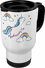 Thermobecher weiß - Motiv Dickes fliegendes Einhorn - Coffee To Go Becher, Thermo-Tasse