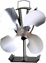 Thermoelektrischer Ventilator für Kamin / Feuerstelle, 4 Rotorblätter, umweltfreundlich, Antrieb durch Hitze silber