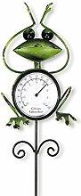 Thermometer Frosch Metall grün Gartenstecker Gartendeko Außentemperatur