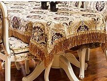 Thick chenille europäischer stil tischtuch jacquard round rechteckigen tisch deckt möbel cover tuch-D 130*180cm(51x71inch)