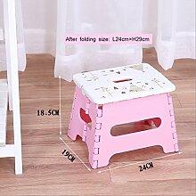 Thick Plastic Folding Kleine Bank Portable Kreative Tragbare Hocker Kindersitz Home Adult Hocker ( Farbe : Pink , größe : L24cm*W19cm*H18.5cm )