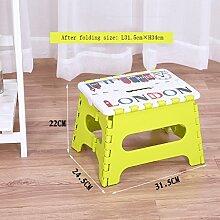 Thick Plastic Folding Kleine Bank Portable Kreative Tragbare Hocker Kindersitz Home Adult Hocker ( Farbe : Gelb , größe : L31.5cm*W24.5cm*H22cm )