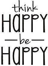 Think Happy be Happy Wandaufkleber Englisch