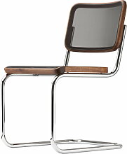 Thonet - S 32 N Stuhl, Chrom / Nussbaum geölt / Netzbespannung schwarz (Pure Materials)