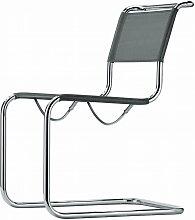 Thonet - S 33 N Stuhl, Chrom / Gewebe silber