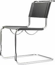 Thonet - S 33 Stuhl, Chrom / Kernleder schwarz