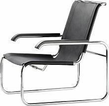 Thonet - S 35 L Sessel, Chrom / Kernleder schwarz