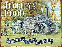 Thorley's Essen für ihre Pferd. Pferde mit dampf motor auf die bauernhof weiß shire ziehen, pflug und tank. Metall/Stahl Wand Zeichen - 15 x 20 cm
