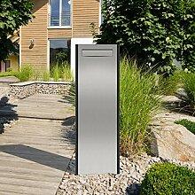 """Thorwa® Design Briefkasten Standbriefkasten Briefkastensäule """"Pylon"""" mit individuellem Schriftzug / Hausnummer – für außen – H: 150cm (Postentnahme hinten)"""