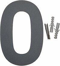 Thorwa Design Edelstahl Hausnummer 0, anthrazit beschichtet, inkl. Montagematerial / H: 160mm / Farbe: grau-schwarz RAL 7011