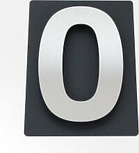 Thorwa® Design Edelstahl Hausnummer 0 auf schieferfarbenem (anthrazit grau schwarz) Blech