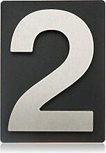 Thorwa® Design Edelstahl Hausnummer 2 auf schieferfarbenem (anthrazit grau schwarz) Blech