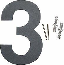Thorwa Design Edelstahl Hausnummer 3, anthrazit beschichtet, inklusiv Montagematerial, H: 160mm, Grau-schwarz RAL 7011