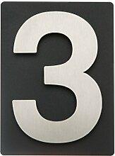 Thorwa® Design Edelstahl Hausnummer 3 auf schieferfarbenem (anthrazit grau schwarz) Blech