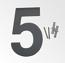 Thorwa Design Edelstahl Hausnummer 5, anthrazit beschichtet, inkl. Montagematerial / H: 160mm / Farbe: grau-schwarz RAL 7011