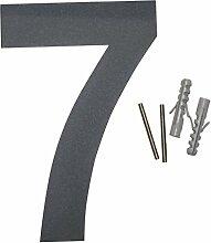 Thorwa Design Edelstahl Hausnummer 7, anthrazit beschichtet, inkl. Montagematerial / H: 160mm / Farbe: grau-schwarz RAL 7011