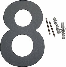 Thorwa Design Edelstahl Hausnummer 8, anthrazit beschichtet, inkl. Montagematerial / H: 160mm / Farbe: grau-schwarz RAL 7011
