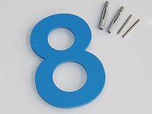 Thorwa® Design Edelstahl Hausnummer 8, Feinstruktur beschichtet, inkl. Montagematerial / H: 160mm / Farbe: Blau
