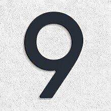 Thorwa® Design Edelstahl Hausnummer 9 modern Avant Garde Stil, anthrazit pulverbeschichtet, H: 160mm, RAL 7016