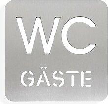 Thorwa® Design Edelstahl WC Schild Symbol Gäste (Design 2) - silber | Schrauben