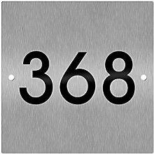 Thorwa Design Hausnummernschild D11-1 mit Folienhausnummer (Edelstahl gebürstet)