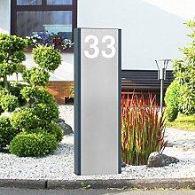 Thorwa® Design LED Stele Säule Stele Pylon mit individuellem Schriftzug / Hausnummer – beleuchtet [KW] – für außen – H: 110cm (Lichtfarbe: kaltweiß)