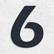 Thorwa® moderne Design Edelstahl Hausnummer 6 Eras Demi Stil, anthrazit pulverbeschichtet, H: 160mm, RAL 7016