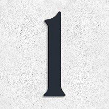 Thorwa® verschnörkelte Design Edelstahl Hausnummer 1 Cabaletta Stil, anthrazit pulverbeschichtet, H: 200mm, RAL 7016