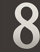 Thorwa® verschnörkelte Design Edelstahl Hausnummer 8 Cabaletta Stil, Edelstahl gebürstet / geschliffen, H: 200mm / 20cm