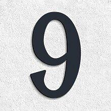 Thorwa® verschnörkelte Design Edelstahl Hausnummer 9 Cabaletta Stil, anthrazit pulverbeschichtet, H: 200mm, RAL 7016