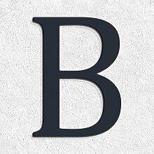 Thorwa® verschnörkelte Design Edelstahl Hausnummer B Cabaletta Stil, anthrazit pulverbeschichtet, H: 160mm, RAL 7016