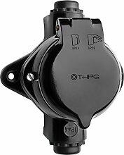 THPG 100829 Feuchtraum Aufputz Steckdose Durchgangsdose Senkrecht IP44 Bakelit Thomas Hoof Produktge
