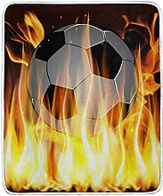 Throw Blanket Flames and Soccer Ball Sofa Throw