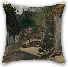 Throw Pillow Case Of Oil Painting Otto Haslund -