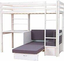 Thuka Hochbett, 90x200 Bett weiss inkl. Matratze grau und Lattenros