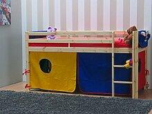 Thuka Kinder Hochbett 90x200 + Zubehör blau rot gelb Kinderbett Bett Spielbe