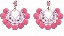 Thumby Haar Ball Glitter Pulver Hochwertige Ohrringe Trend-Accessoires, Hell-Pink
