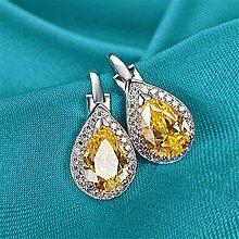 Thumby Tropfen Zirkon-Stil Diamant Ohrringe Temperament Wild S925 Sterling Silber Ohrringe Weibliche Mode-Accessoires, Gelb