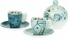 THUN - Set mit 2 Kaffeetassen und Zuckerdose Meer