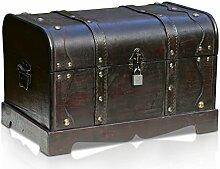 Thunderdog Columbus - große Piraten-Schatztruhe mit Schloss 31x18x18cm Schatzkiste Holz-Truhe