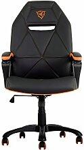 ThunderX3 TGC10 - Professioneller Gaming-Stuhl für Gamer - (Kunstleder, verstellbare Neigung und Höhe, Armlehne, gepolstert, ergonomisch) Schwarz und Orange Farbe