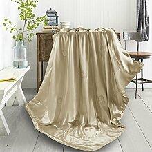 THXSILK Wolldecke Mit 100% Maulbeereseide innen und außen, Größe 135x180 cm - Champagner
