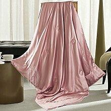 THXSILK Wolldecke Mit 100% Maulbeereseide innen und außen, Größe 135x180 cm - Zauber Rosa