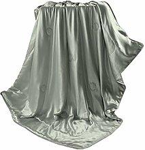 THXSILK Wolldecke mit 100% Maulbeereseide Innen und Außen, Größe 135x180 cm - Grau